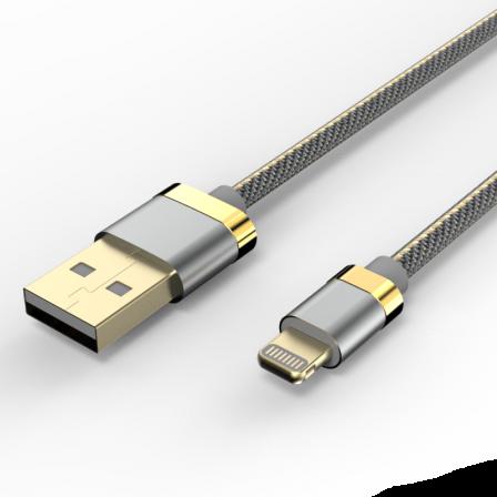 Кабель Voltex Premium USB — Apple Lightning 3А Grey