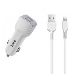Автомобільний зарядний пристрій HOCO комплект Z23 micro-USB White