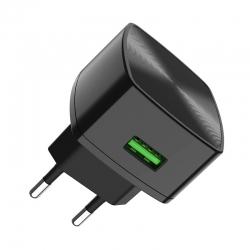 Мережевий зарядний пристрій Hoco C70A Cutting-edge QC3.0 3A 18W Black