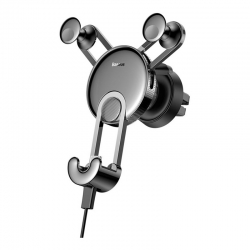Автомобильный держатель для смартфона Baseus YY Holder With USB Cable For IP Silver (SULYY-0S)