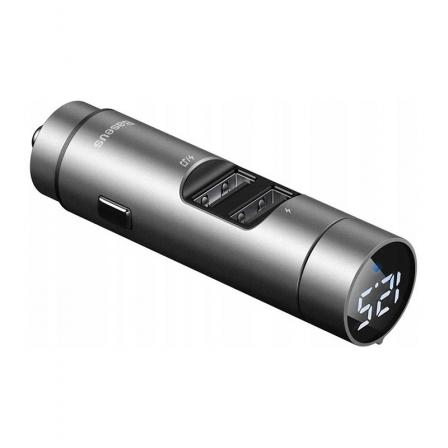 АЗУ с FM-трансмиттером Baseus Energy Wireless MP3 Charger Silver (CCNLZ-0S)
