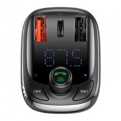 АЗП з FM-трансмітером Baseus T typed S-13 Bluetooth MP3 car charger Black (CCTM-B01)