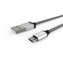 Кабель Textile USB -  microUSB 1А White