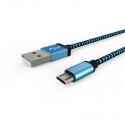 Кабель Textile USB -  microUSB 1А Blue