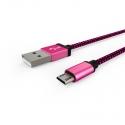 Кабель Textile USB -  microUSB 1А Red