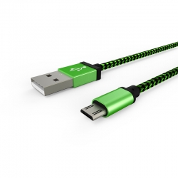 Кабель Textile USB -  microUSB 1А Green
