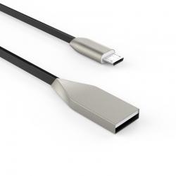Кабель Flat Metal USB - microUSB 2А Black