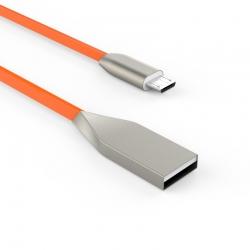 Кабель Flat Metal USB - microUSB 2А Orange