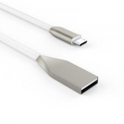 Кабель Flat Metal USB - microUSB 2А White