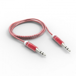 Кабель AUX 3.5 mm - 3.5 mm Silicone+Metallic Red
