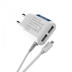 Зарядное устройство Voltex 1.5A 2USB + microUSB White