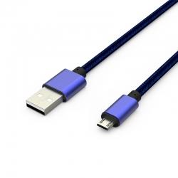 Кабель Metal USB -  microUSB 2А Blue