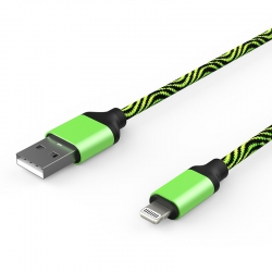 Кабель Zebra USB — Apple Lightning Iphone 2А Green
