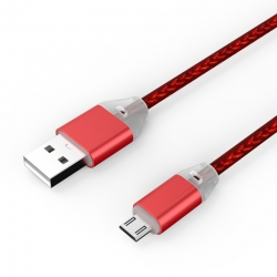 Кабель LED USB — microUSB Android 2А Red