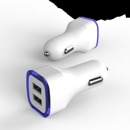 Автомобільний зарядний пристрій 2.1А LED White