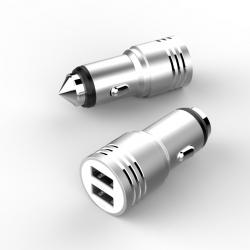 Автомобільний зарядний пристрій Metal 2.4А Silver