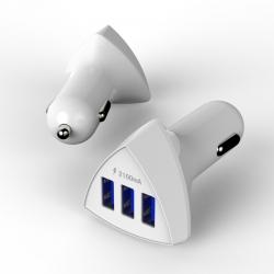 Автомобільний зарядний пристрій 3 USB 2.1A White