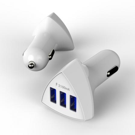 Автомобильное зарядное устройство 3 USB 2.1A White