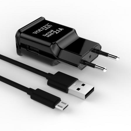 Зарядное устройство Voltex USB 2A Black с кабелем microUSB