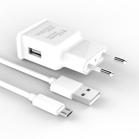 Мережевий зарядний пристрій Voltex USB 2A White з кабелем microUSB