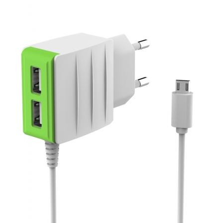 Мережевий зарядний пристрій 2USB White-Green